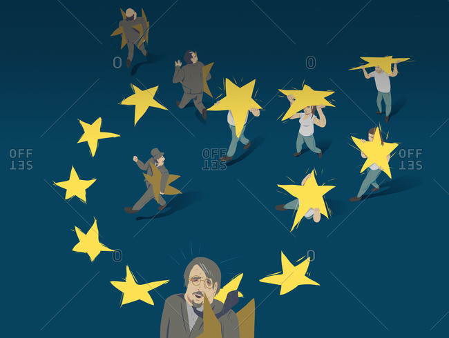 New arrivals carrying stars at the European Parliament
