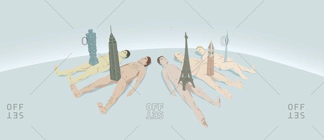 Naked men with iconic towers between their legs