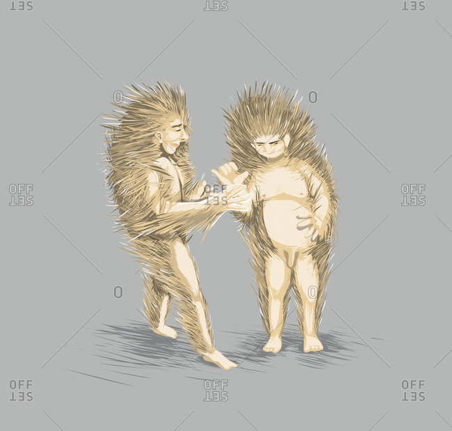 People with porcupine spines trying to touch each other