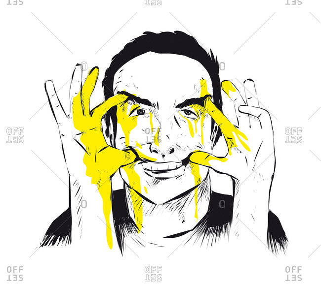 Man using his hands to force his mouth into a smile