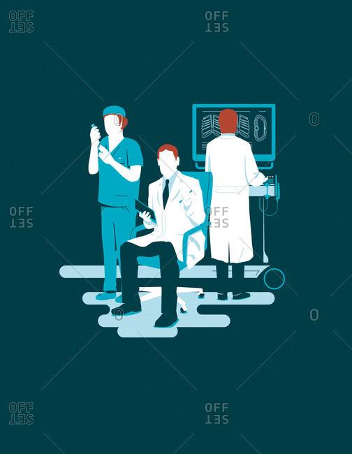 Doctors performing various tasks