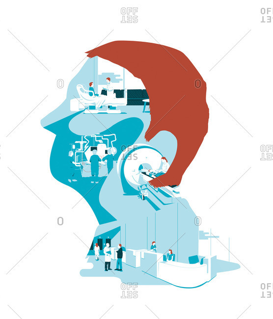 Hospital scenes inside the profile of a man's head