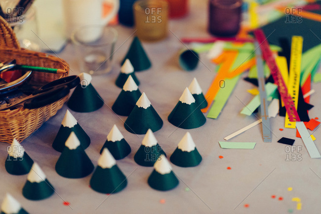 Cone shaped paper crafts on table