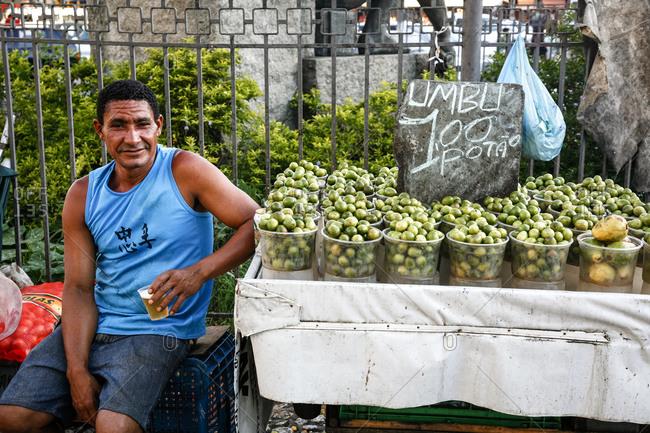 Salvador, Bahia, Brazil - March 14, 2010: Portrait of a man at Sao Joaquim market