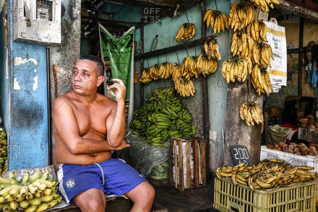 Salvador, Bahia, Brazil - March 14, 2010: Banana seller at Sao Joaquim market