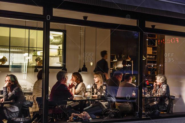 Copenhagen, Denmark - May 6, 2014: People having diner at Radio Restaurant