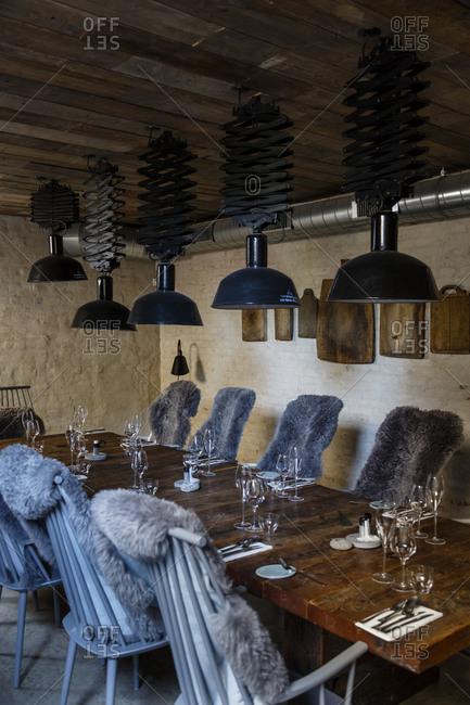 Copenhagen, Denmark - May 1, 2014: Interior design at Host restaurant