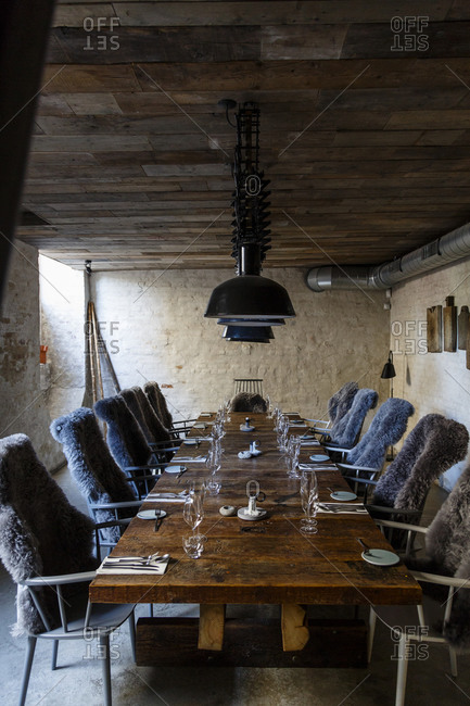 Copenhagen, Denmark - May 1, 2014: Rustic ambience at Host restaurant