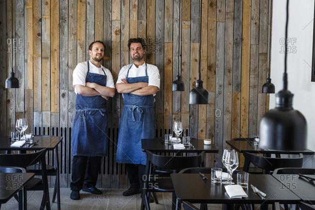 Copenhagen, Denmark - May 1, 2014: Portrait of Radio Restaurant chefs Ramus Kliim & Jesper Kirketerp