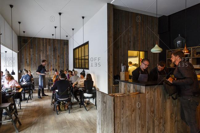 Copenhagen, Denmark - April 30, 2014: Interior of Radio Restaurant