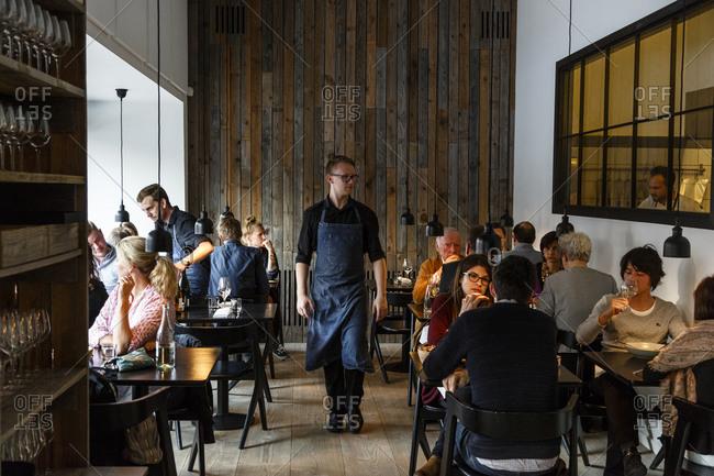 Copenhagen, Denmark - April 30, 2014: People dining at Radio Restaurant