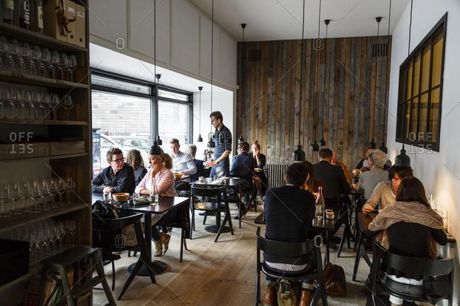 Copenhagen, Denmark - April 30, 2014: People at Radio Restaurant