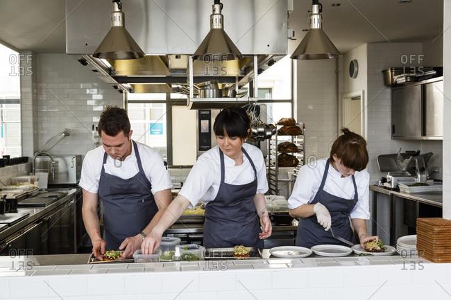 Copenhagen, Denmark - April 29, 2014: Chefs at Almanak Restaurant