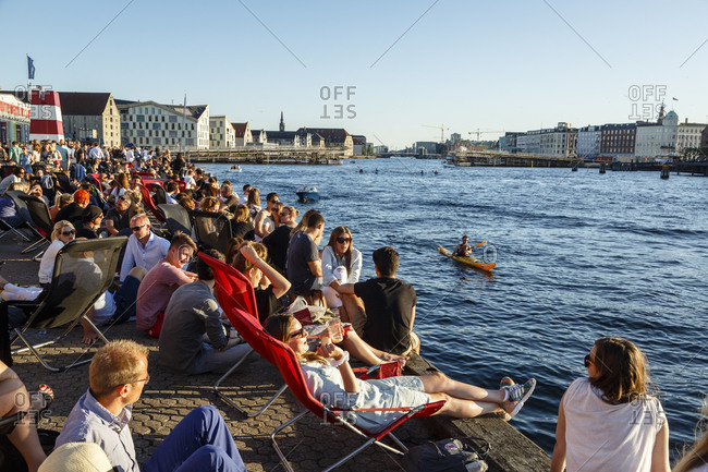 Copenhagen, Denmark - July 1, 2015: People relaxing at the Copenhagen Street Food located at Papiroen