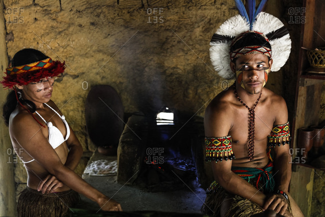 Bahia, Brazil -  March 19, 2010: Pataxo Indian man and woman at the Reserva Indigena da Jaqueira near Porto Seguro