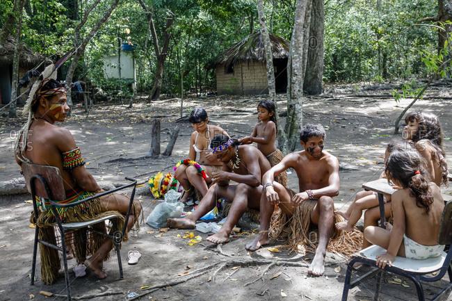 Bahia, Brazil -  March 16, 2010: Pataxo Indian people at the Reserva Indigena da Jaqueira near Porto Seguro