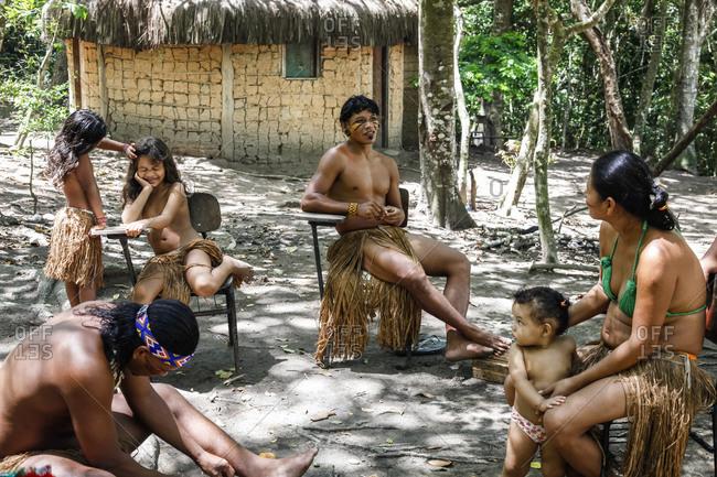 Bahia, Brazil -  March 19, 2010: Pataxo Indian people at the Reserva Indigena da Jaqueira near Porto Seguro