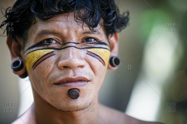 Bahia, Brazil -  March 19, 2010: Pataxo Indian at the Reserva Indigena da Jaqueira near Porto Seguro