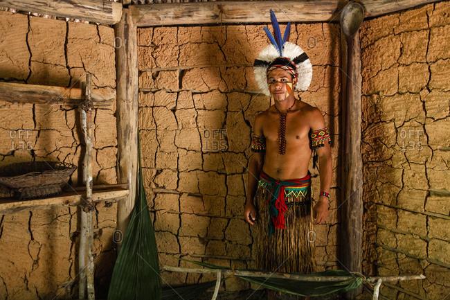Bahia, Brazil -  March 19, 2010: Pataxo Indian man at the Reserva Indigena da Jaqueira near Porto Seguro