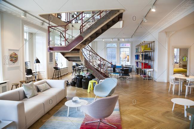Copenhagen, Denmark -  August 13, 2012: Staircase in Hay House store