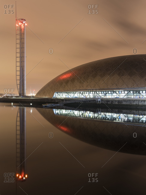 Glasgow, Scotland - December 3, 2015: Glasgow Science Centre and Tower