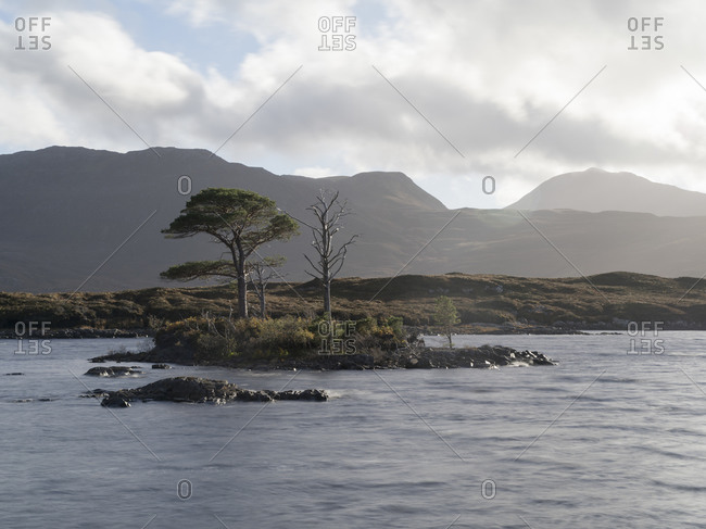 Lake island and mountains in Assynt, Scotland