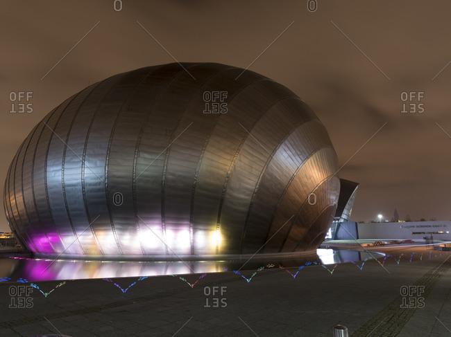 Glasgow, Scotland - December 2, 2015: Glasgow Science Centre at night