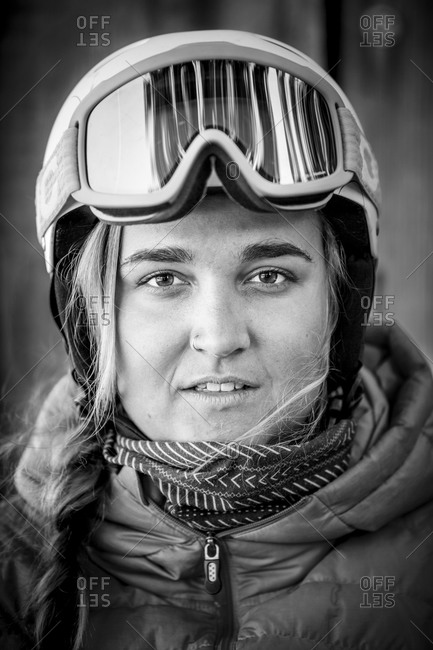Portrait of a woman in ski goggles and helmet