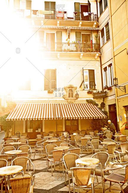Cafe in square in Savona, Italy