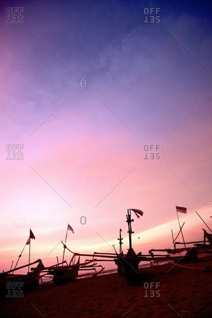 Fishing boats at the beach, Jakarta, Indonesia