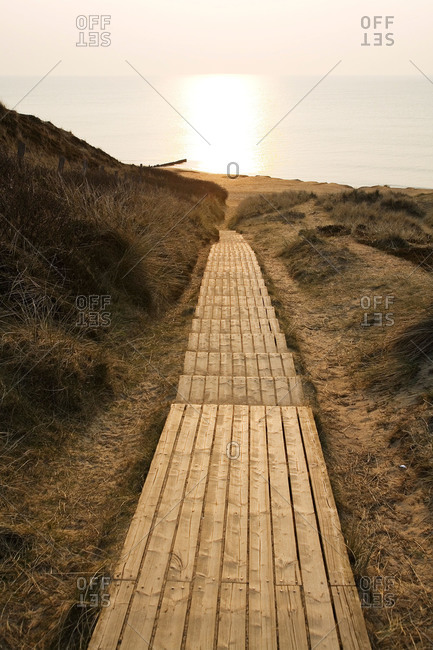 Steps to ocean in coastal Germany