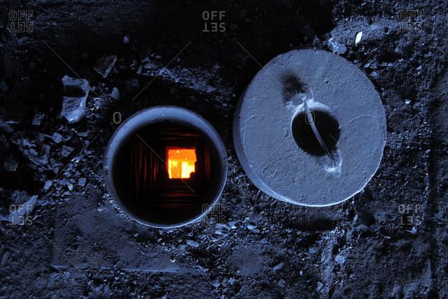 View into kiln in Mongolia