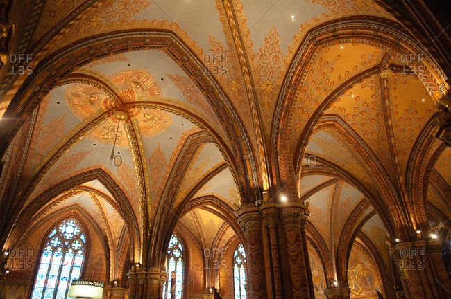 Budapest, Hungary - July 20, 2015: Interior of Matthias Church, Budapest, Hungary