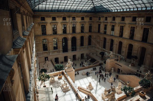 Paris, France - April 13, 2015: Interior of the Louvre Museum, Paris, France