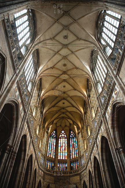 Paris, France - July 24, 2015: Interior of St. Vitus Cathedral at Prague Castle, Prague, Czech Republic