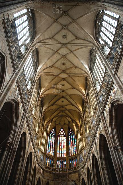 Paris, France - July 24, 2015: Interior of St. Vitus Cathedral at Prague Castle, Prague, Czech Republic