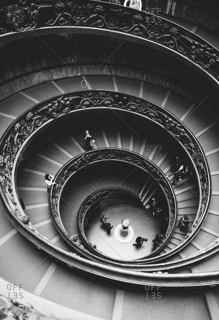 Rome, Italy - April 8, 2015: Black and white of the spiral staircase of Vatican Museum, Rome, Italy