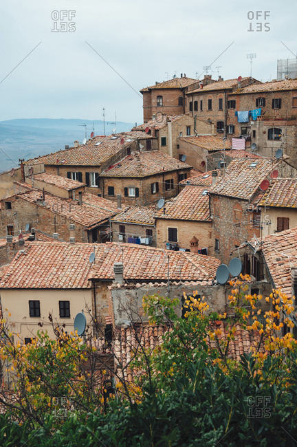 View of buildings and houses in Volterra, Italy