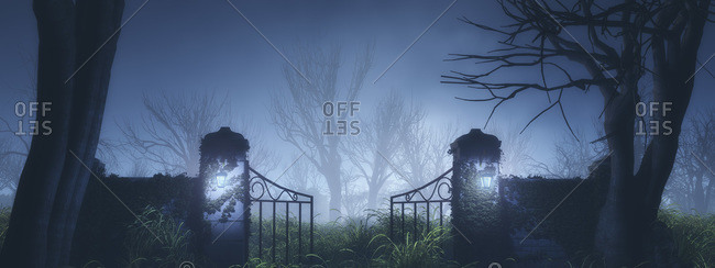 Spooky gate in foggy winter forest at night