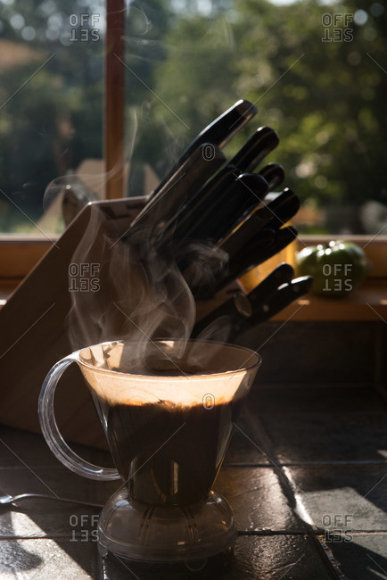 A cone of coffee brewing