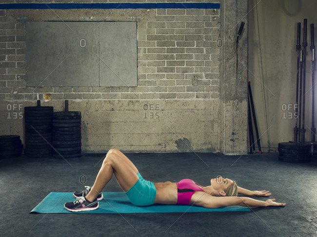 Woman working out at a gym