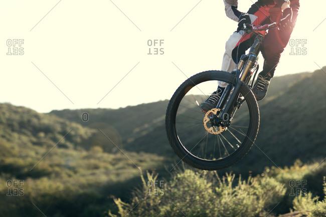 Mountain bike free rider in a jump