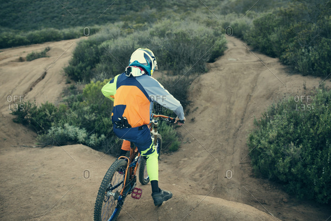 Mountain bike rider on a dirt course