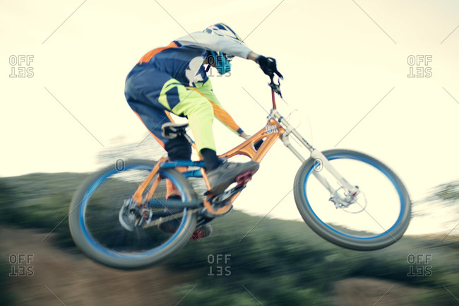 Mountain bike free rider in mid-air
