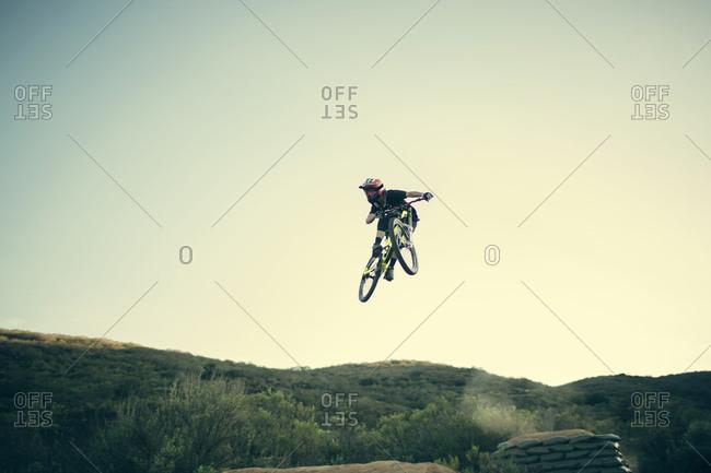 Mountain bike free rider jumping