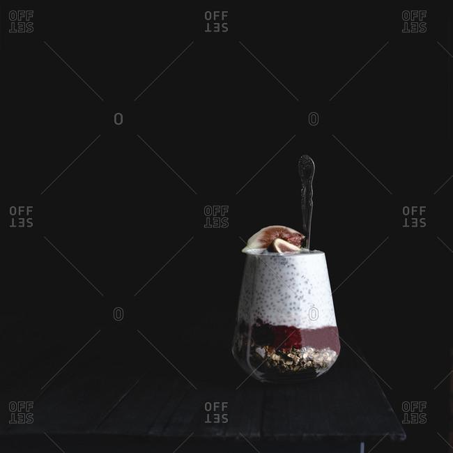 Chia seed, coconut milk, muesli, raspberry jam and fig
