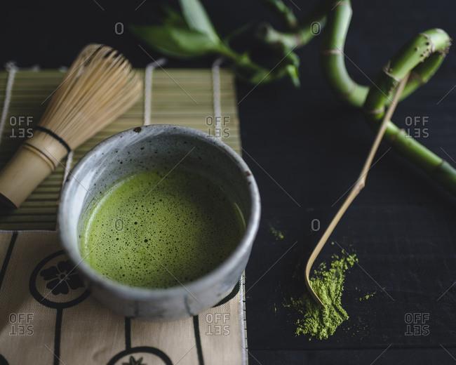 Bowl of frothy matcha green tea