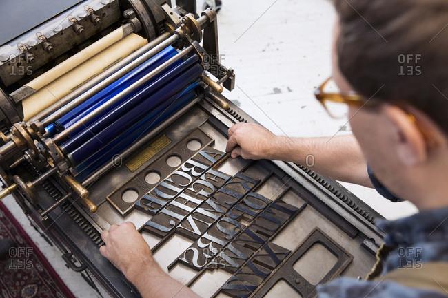 Adjusting type on a letterpress printing press
