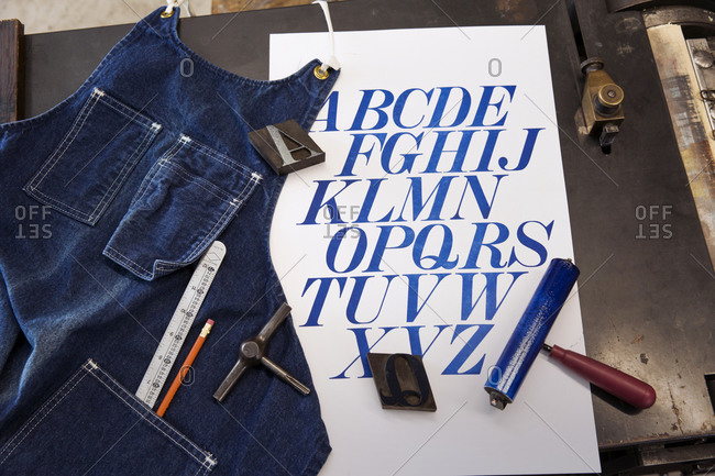 Letterpress type, tools and print