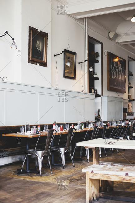 Seattle, Washington, USA - July 12, 2015: Interior of Oddfellows Cafe +Bar in Seattle
